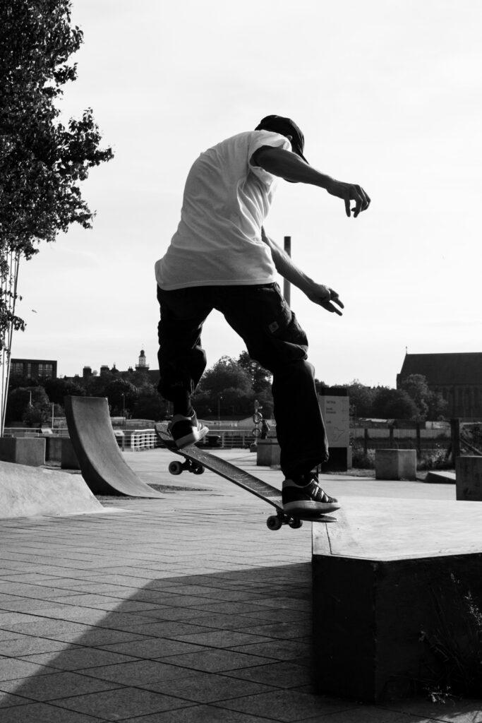 black and white skateboarder