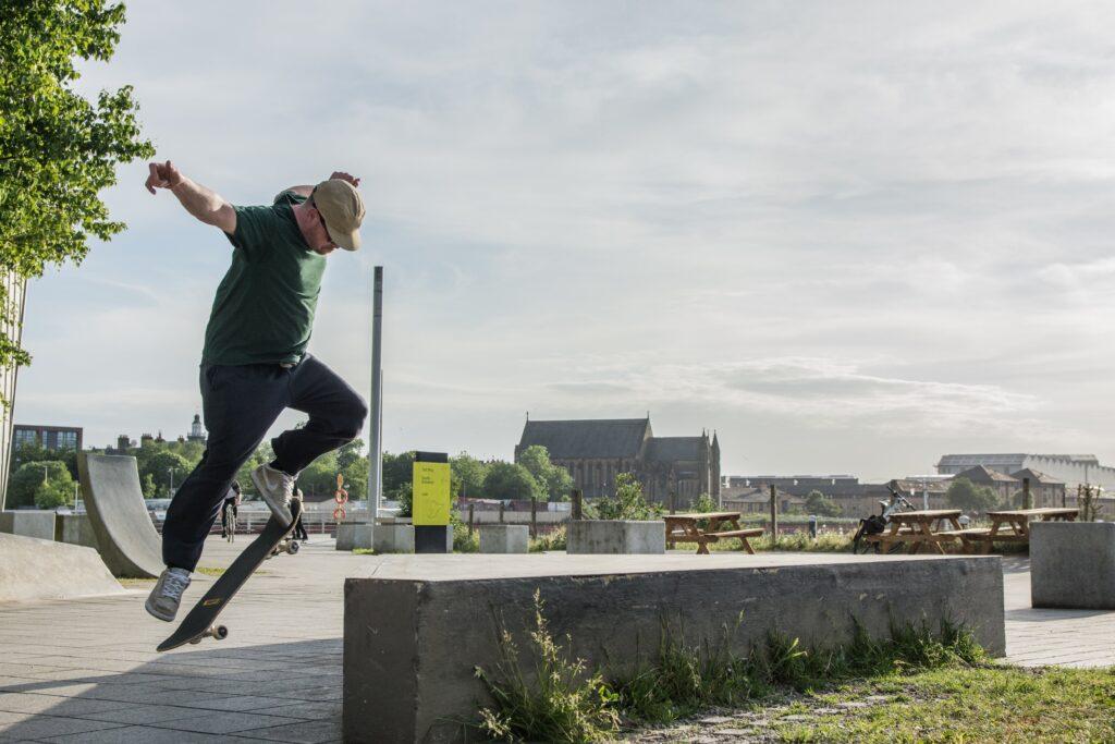 riverside skateboarder