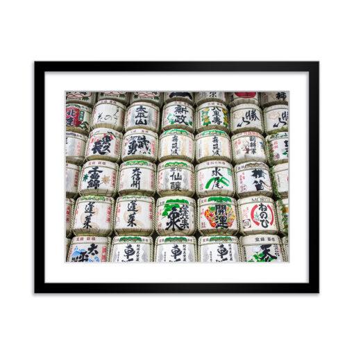tokyo sake barrels 14x11 framed