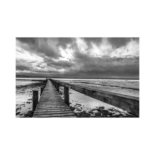culross pier black and white