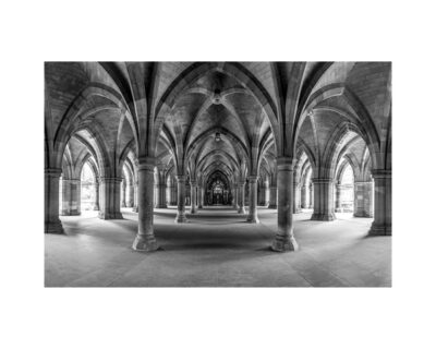 black and white glasgow university cloisters black and white